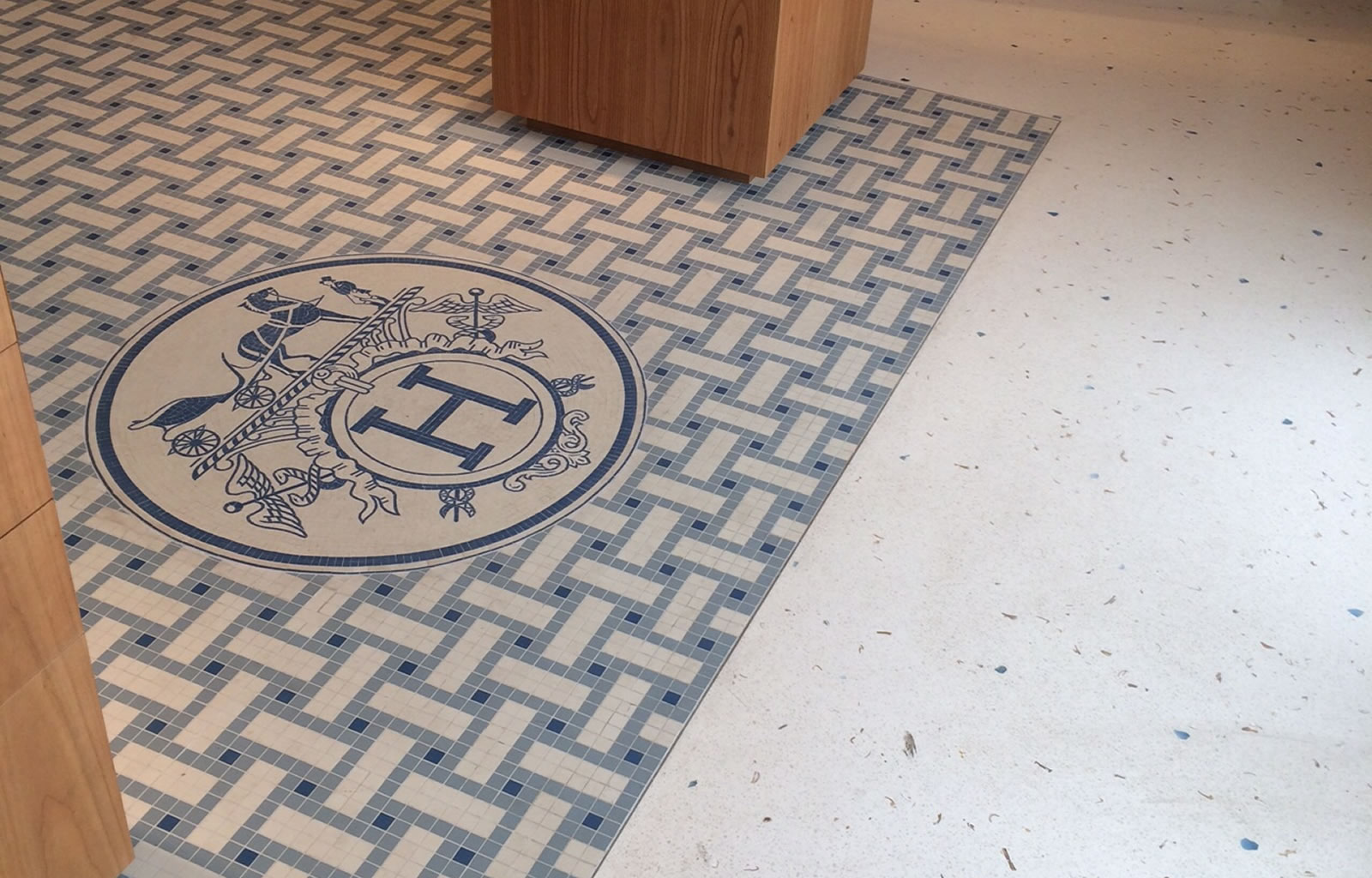 Hermes store in Cannes - Terrazzo floor made with specially selected blue crystals and sea shells -  Terrazzo floor made with specially selected blue crystals and sea shells