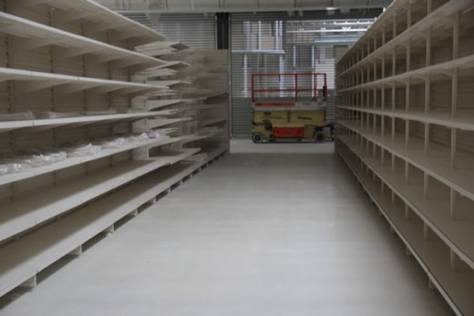 Auchan Supermarket Terrazzo floor - Finished floor and shelving