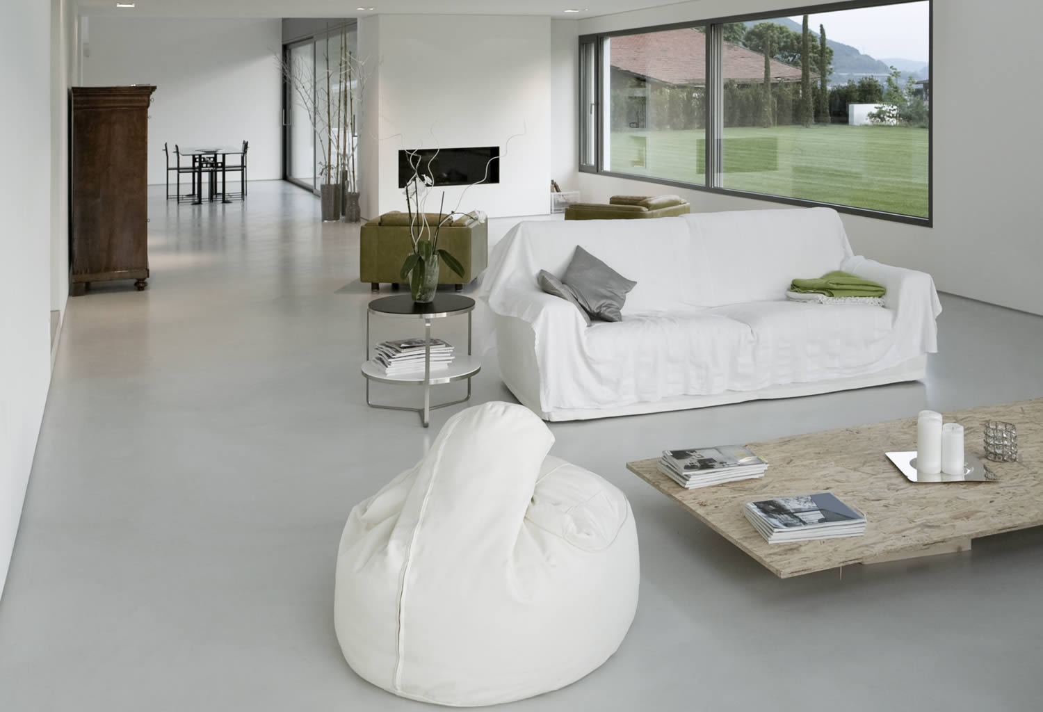 Private home white concrete floors